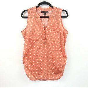 French Laundry Orange White Polka dot top size L